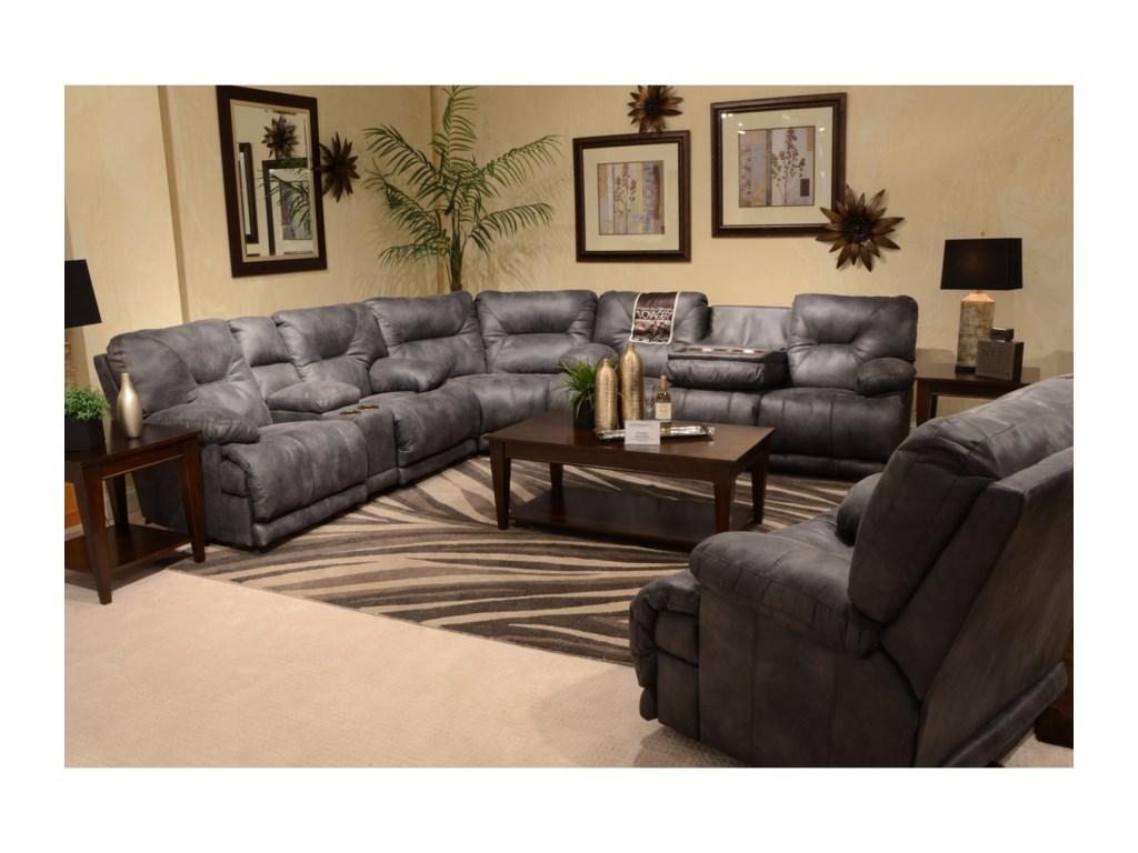 Catnapper VoyagerPower Lay Flat Reclining Sectional Seating