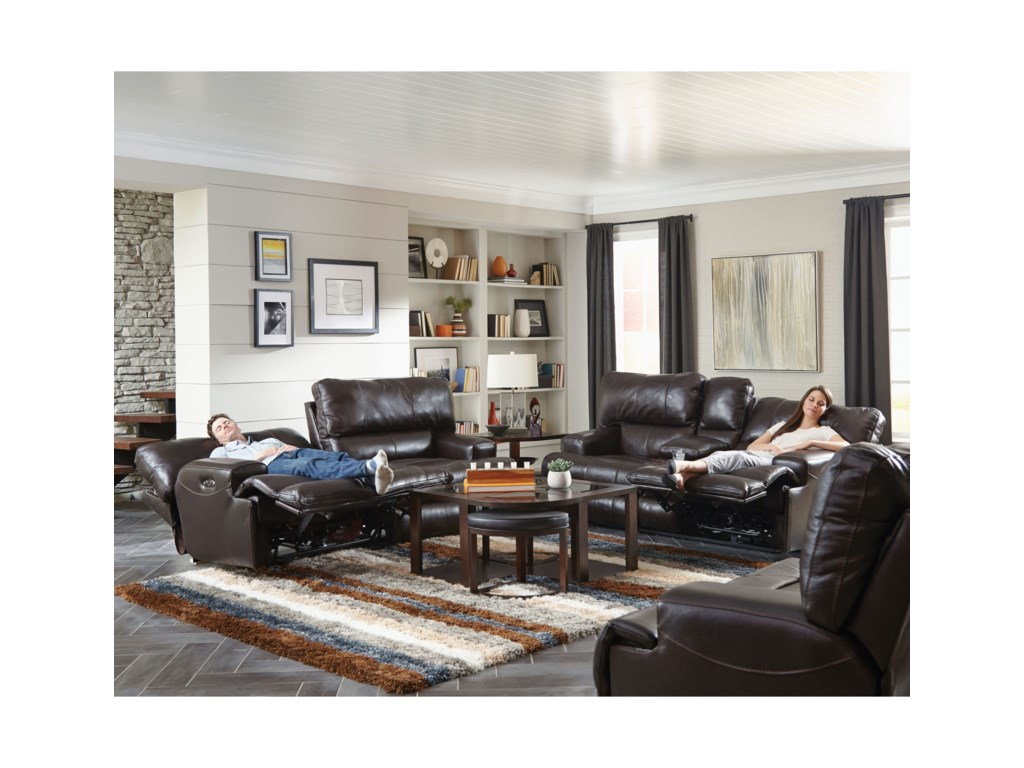 Catnapper WembleyPower Lay Flat Reclining Console Loveseat