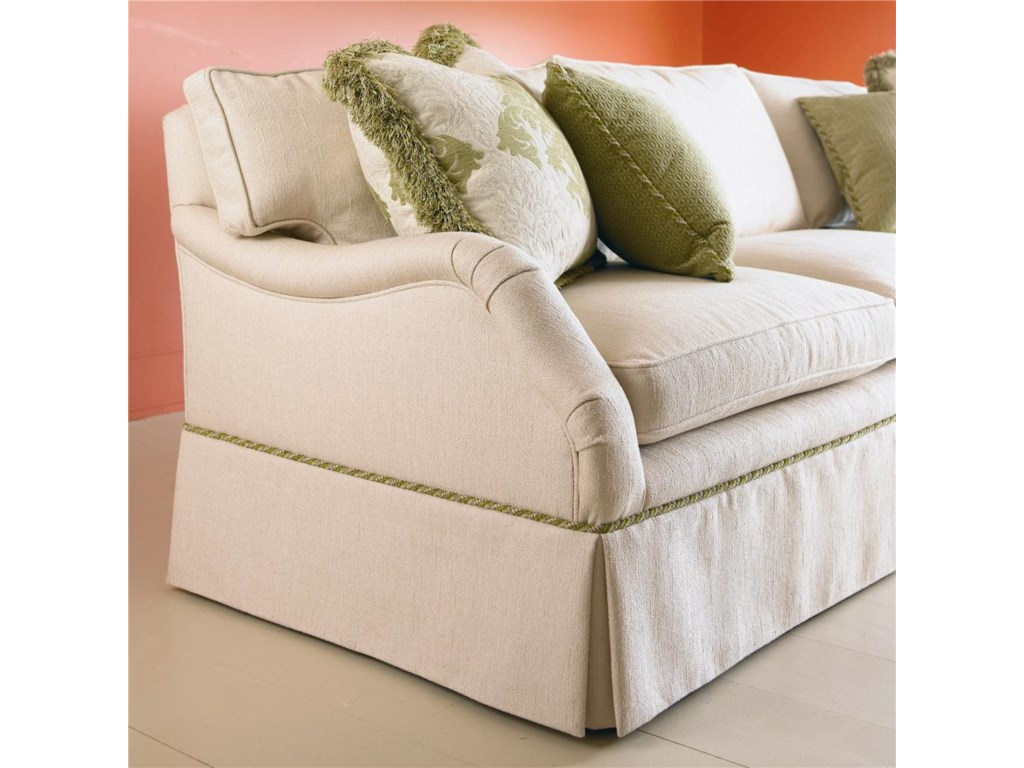 Shown in 100 Inch Length with an English Arm, Loose Cushion Back, Ten Inch Kickpleat Skirt, and with Boxed Welt Cushions