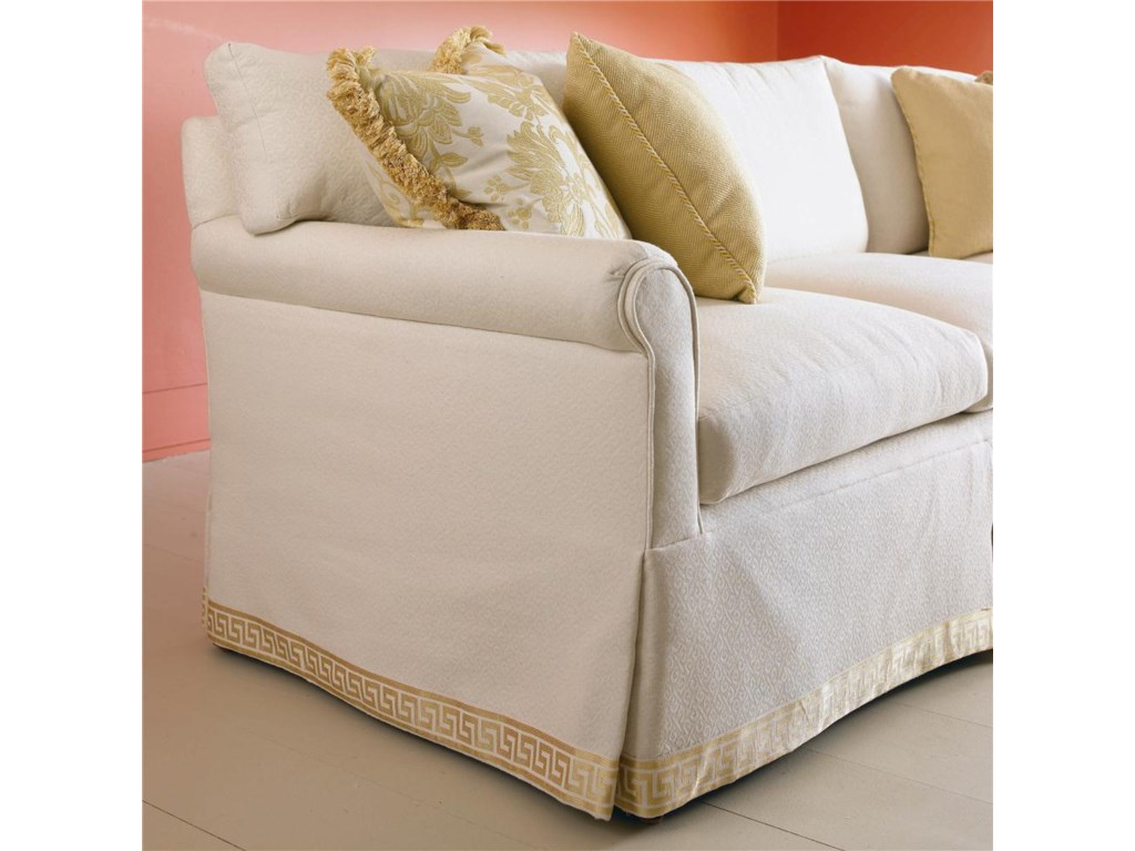 Shown in 90 Inch Length with an Envelope Arm, Loose Cushion Back, Waterfall Skirt, and with Boxed Saddlestiched Cushions