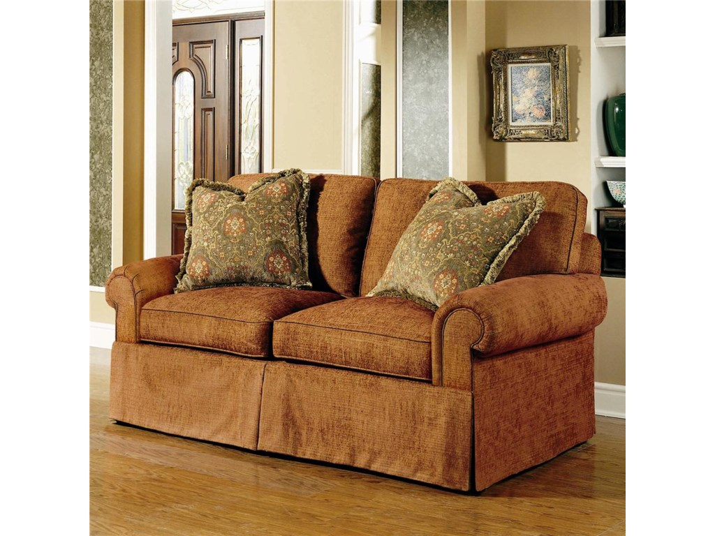 Shown in 74 Inches, with a Straight Cushion Lawson Arm, Boxed Welt, and Upholstered Waterfall Base