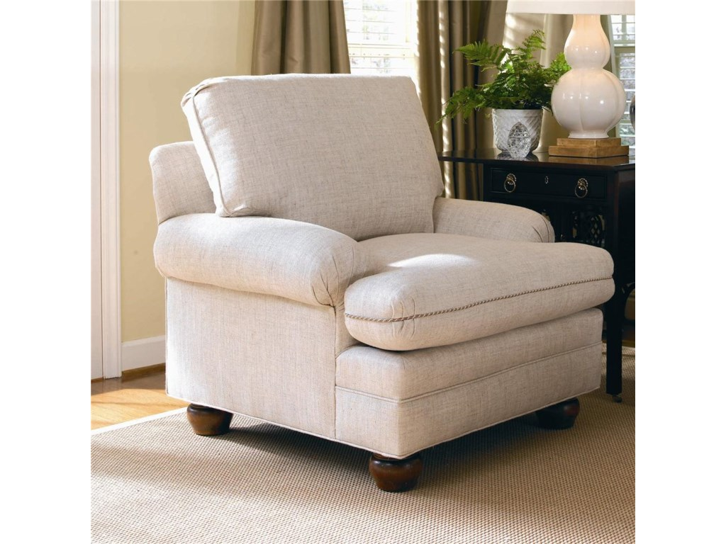 Shown with T-Cushion Pleated Arm, Knife-Edge Welt Cushions, and Exposed Wood Turned Bun Legs