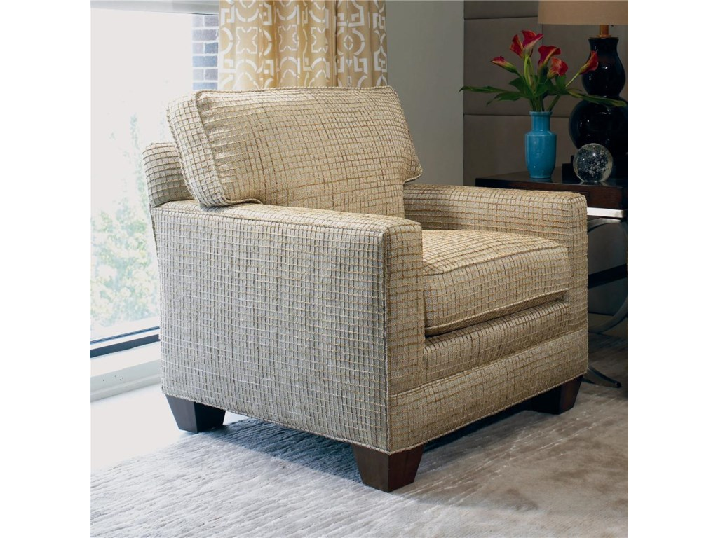 Shown with Straight Cushion Track Arm, Boxed Welt Cushions, and Exposed Wood Tapered Square Leg Base