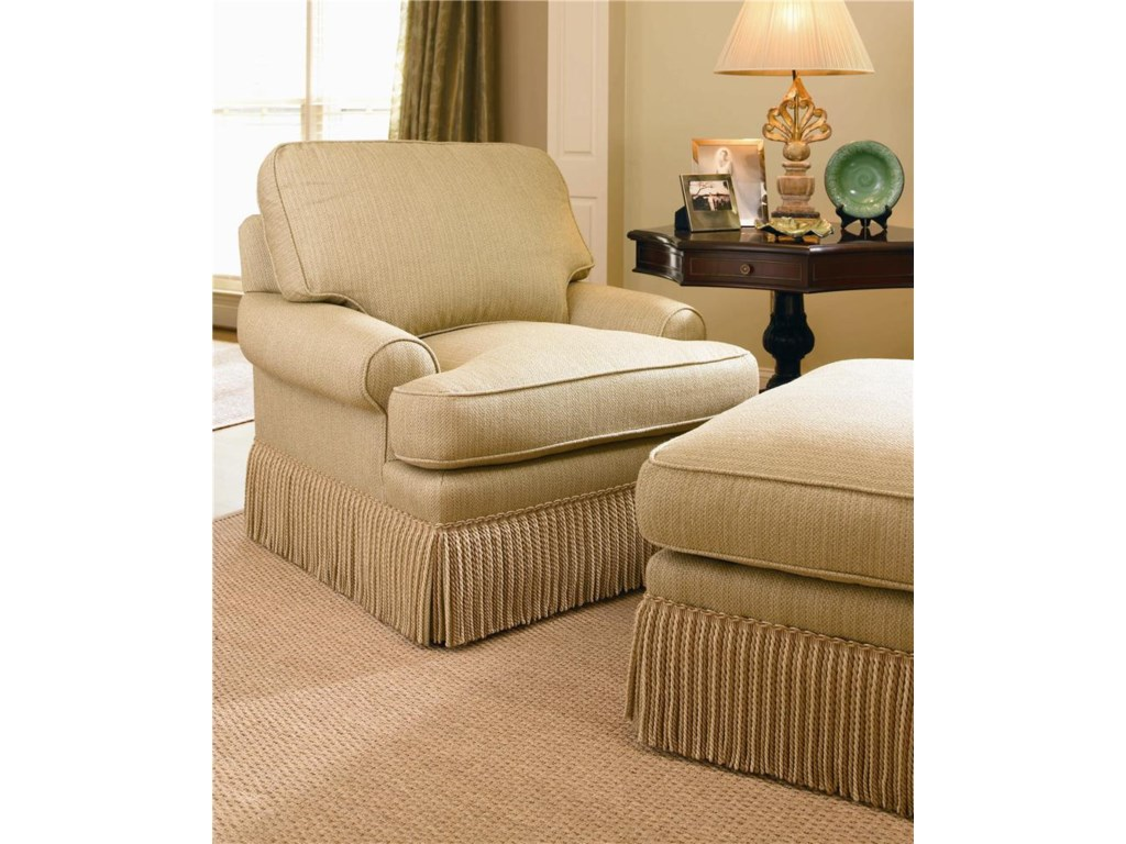 Shown with T-Cushion Sock Arm, Boxed Welt Cushions, and Nine Inch Dressmaker Fringe Base
