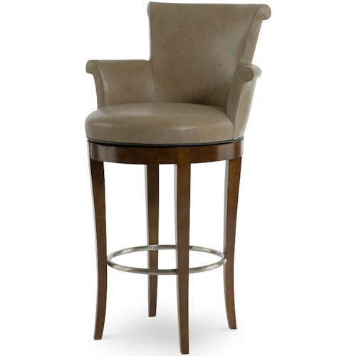 Century 3800B-3 Swivel Bar Stool with Rolled Arms and Back