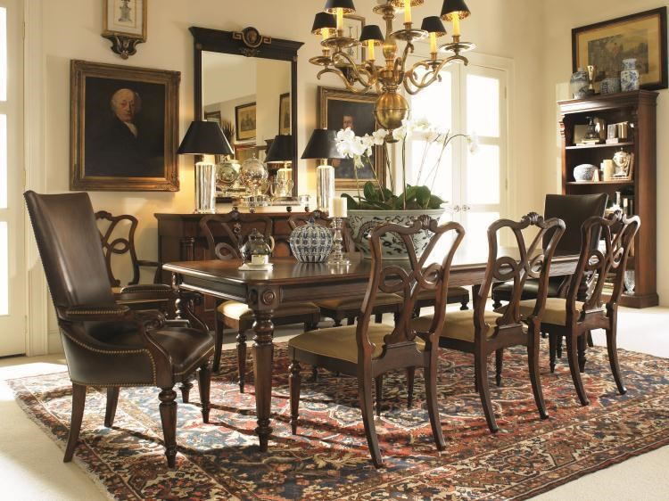 Shown with Side Chairs, Arm Chairs, and Book Shelf