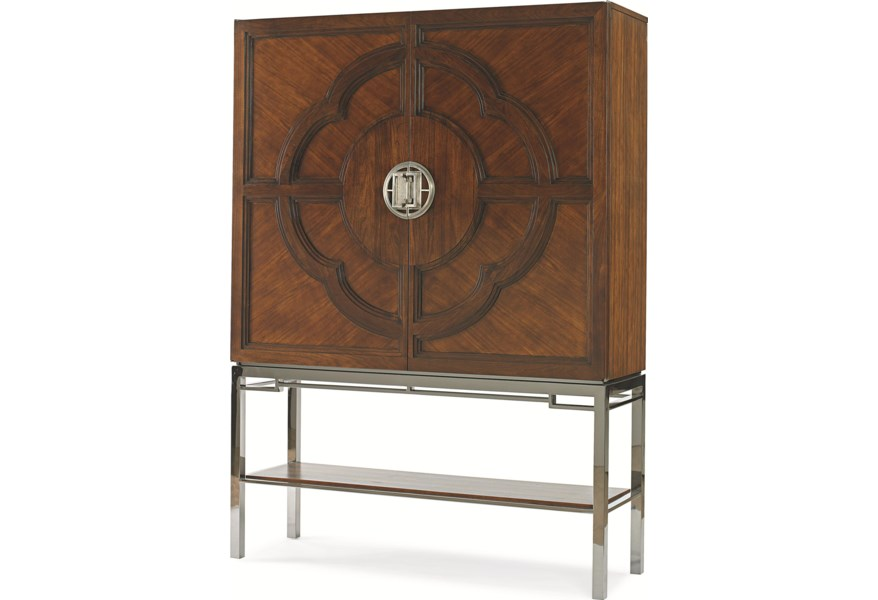Century Chin Hua 2 Door Bar Cabinet With Lotus Flower Carving Story Lee Furniture Bar Cabinets
