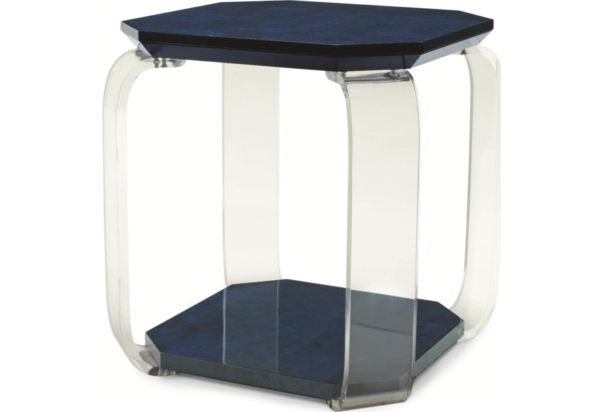 Century Chin Hua Colored Octagon Chairside Table With Flat Acrylic Legs Story Lee Furniture End Tables