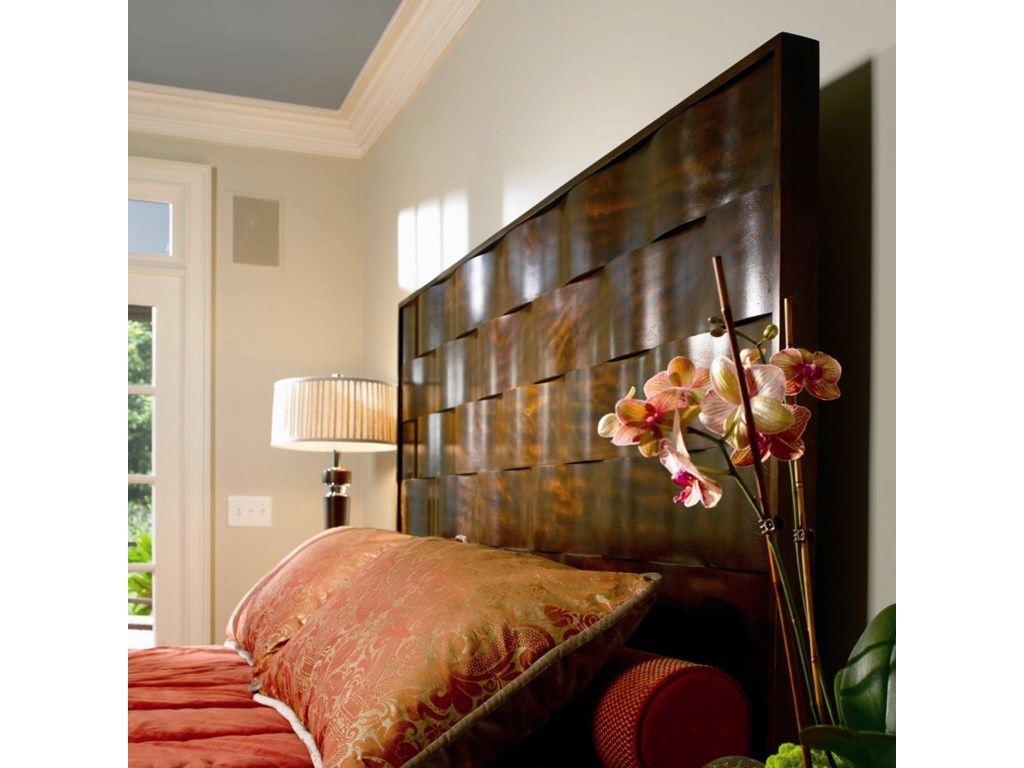 Wavy Ribbon-Like Panels of Avodire Veneer are Featured on 6/6 King Bed.