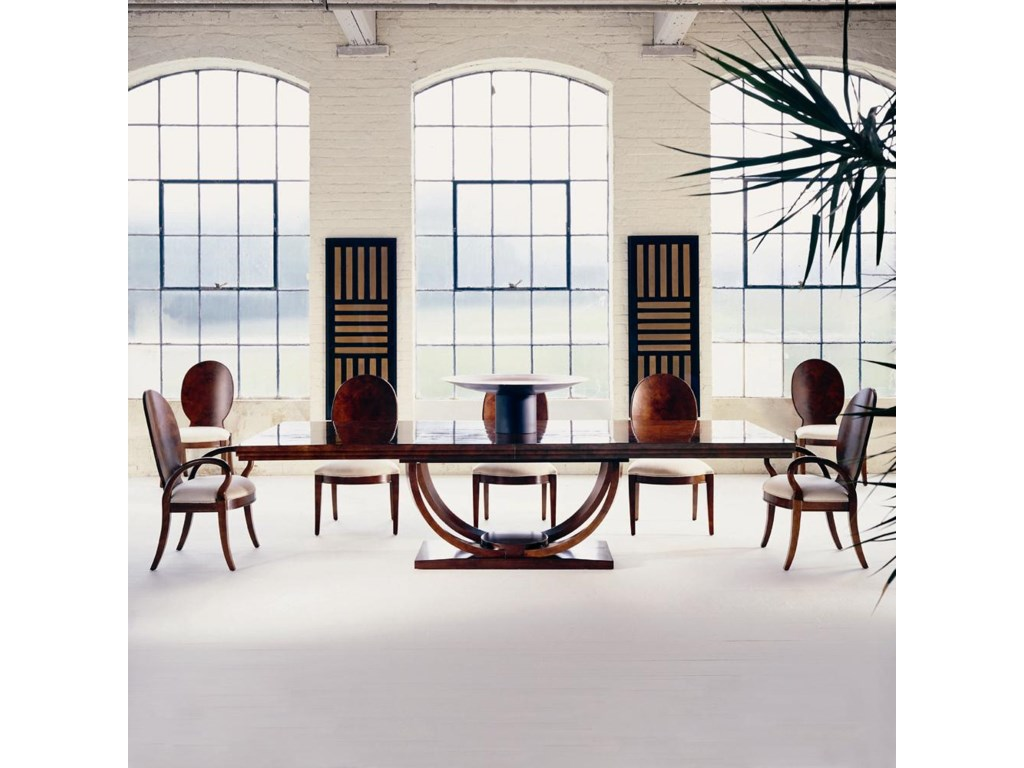 Shown as Set with Five Side Chairs and Two Arm Chairs.