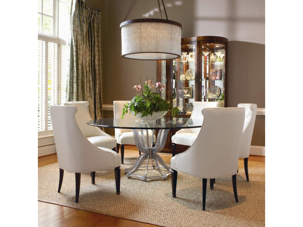 Shown as Set with Metal Base Dining Table with Glass Top