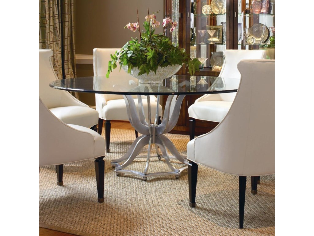 Century Omni 55a 307 Metal Base Dining Table With Glass Top Design