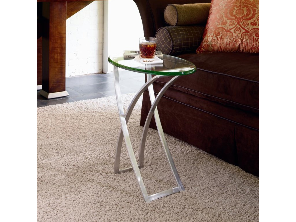 Century OmniMetal Chairside Table with Glass Top