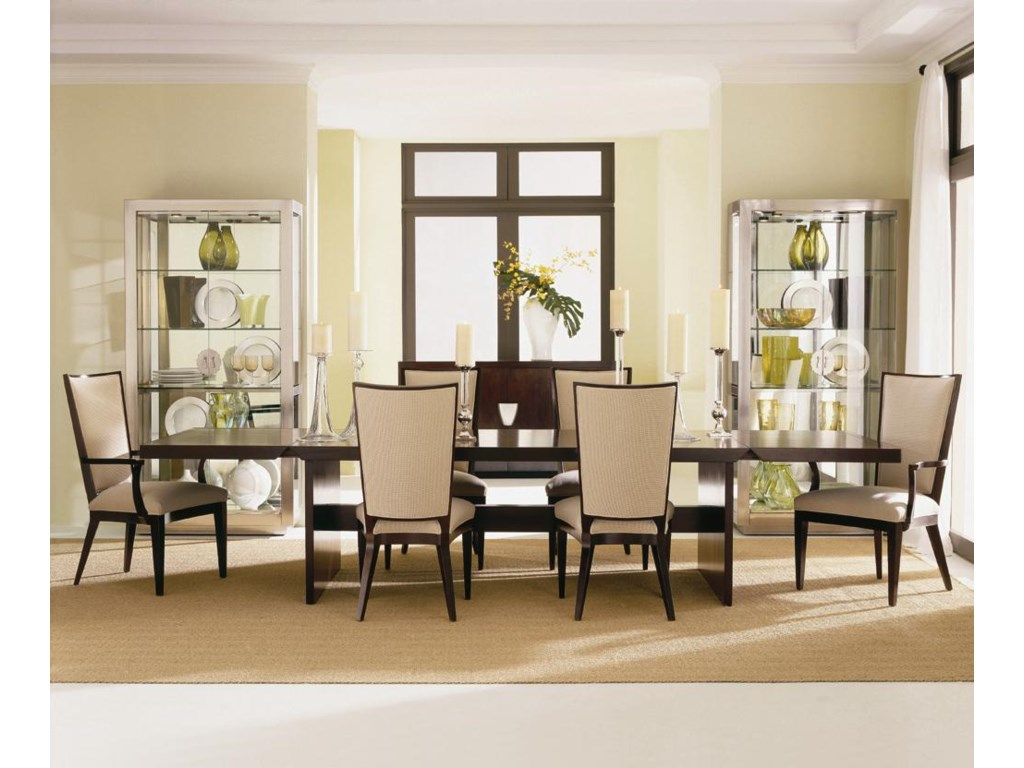 Shown as Set with Tacoma Dining Table (Leaves in Raised Position) and Two Upholstered Arm Chairs.