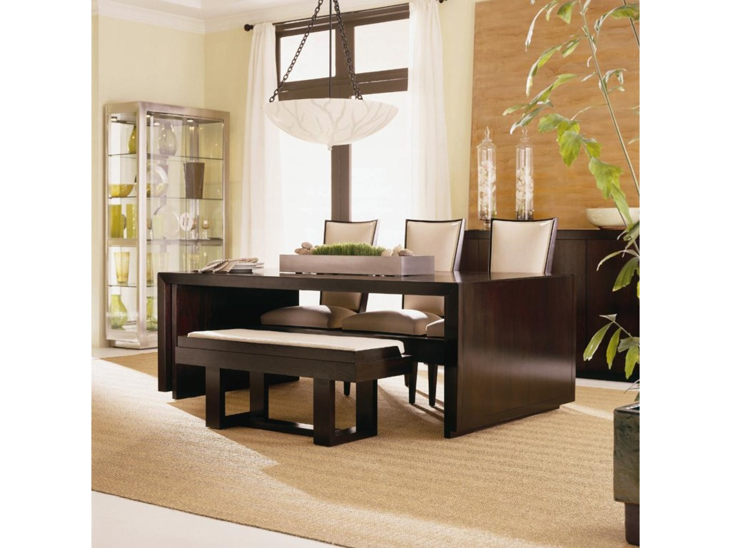 Shown as Set with Tacoma Dining Table (Leaves folded down) and Gallery Top Bench.