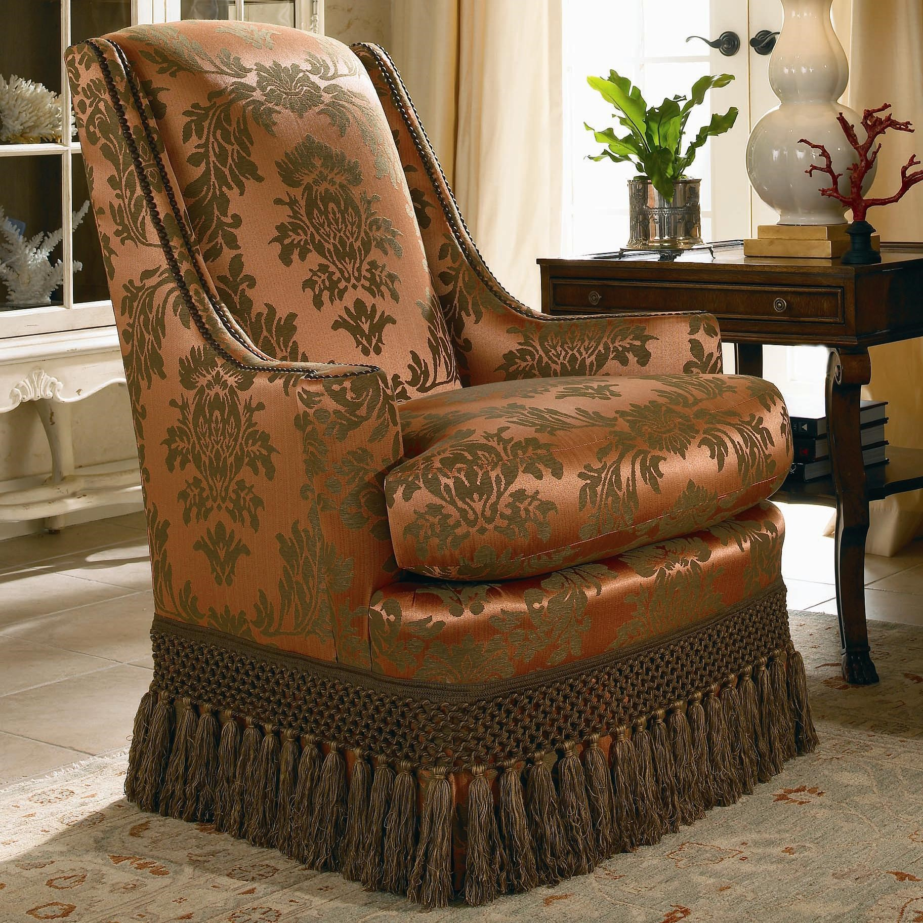 Century Signature Upholstered Accents High Back Upholstered Chair With  Tassels On Base