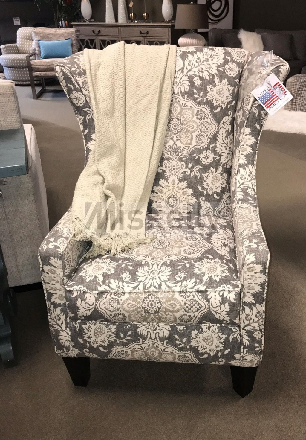 Chairs america accent chairs and ottomans wing chair with tapered legs