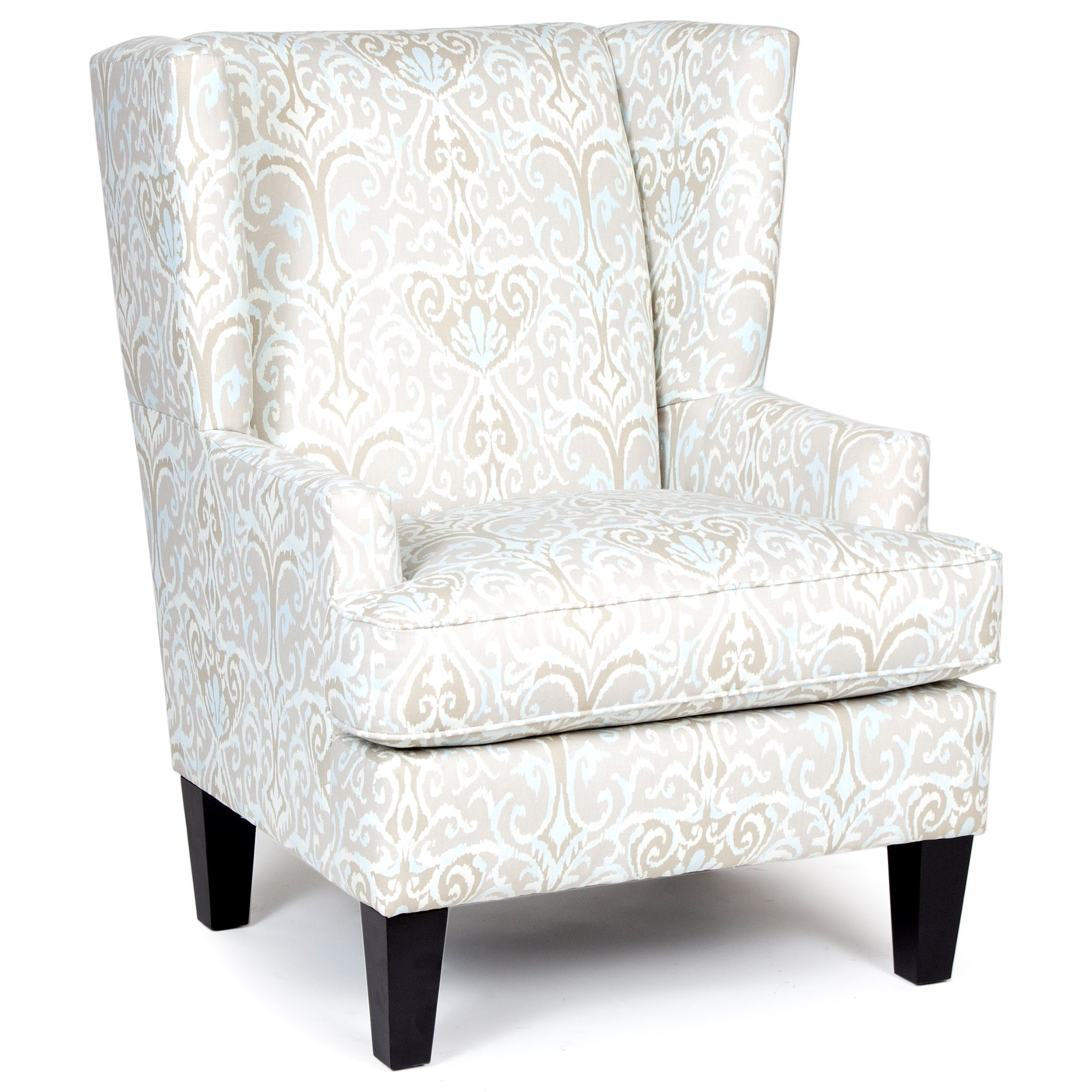 Chairs America Accent Chairs And Ottomans Transitional Wing Chair With  Tapered Legs