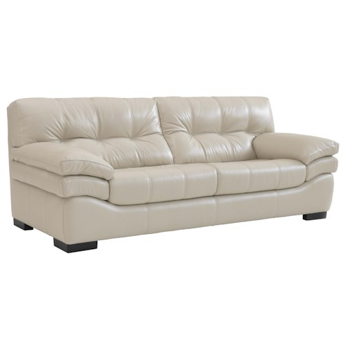 Chateau D'Ax 866 Contemporary Tufted Back Sofa with Exposed Wood Legs