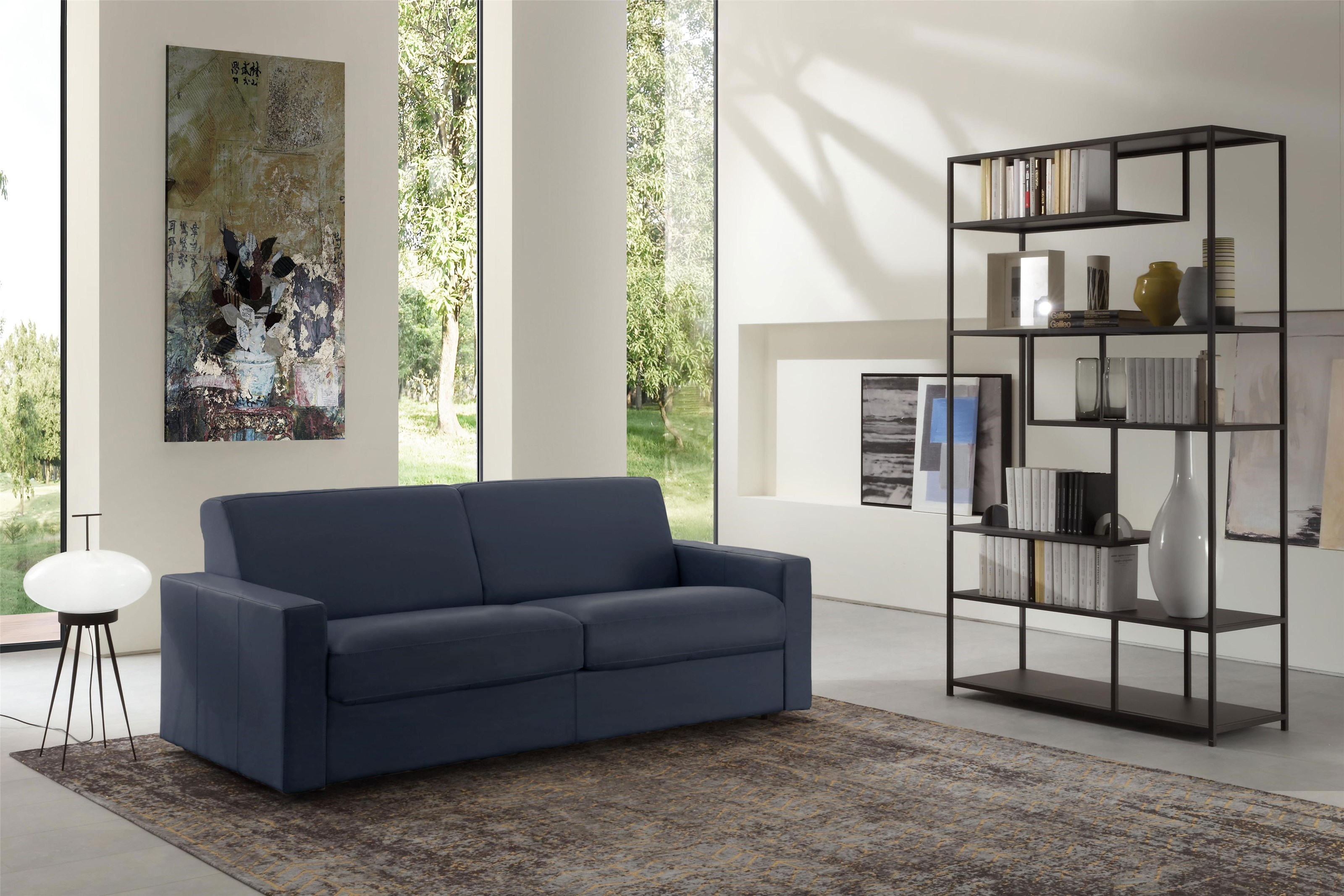 Queen Sleeper Sofa in Blue Leather