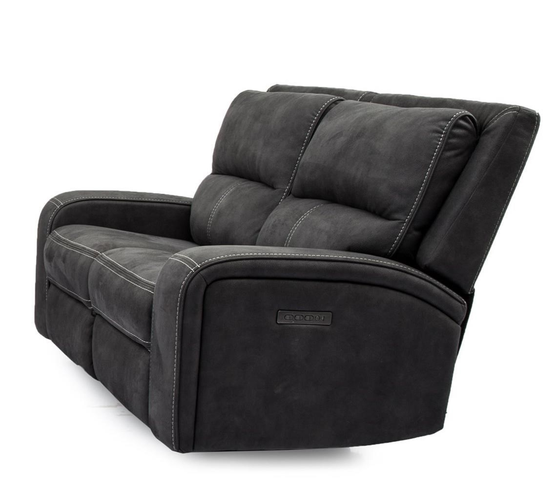 Contemporary Power Reclining Loveseat with USB Ports and Power Headrests