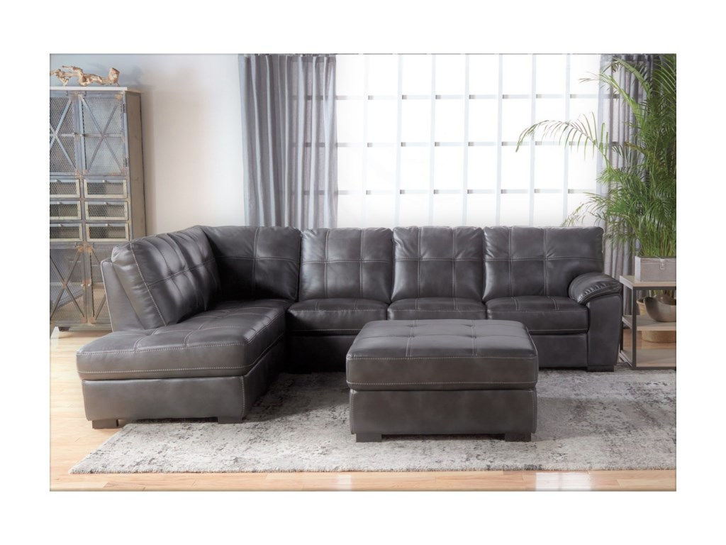 Cheers 5312Tufted Sectional with Bumper Chaise