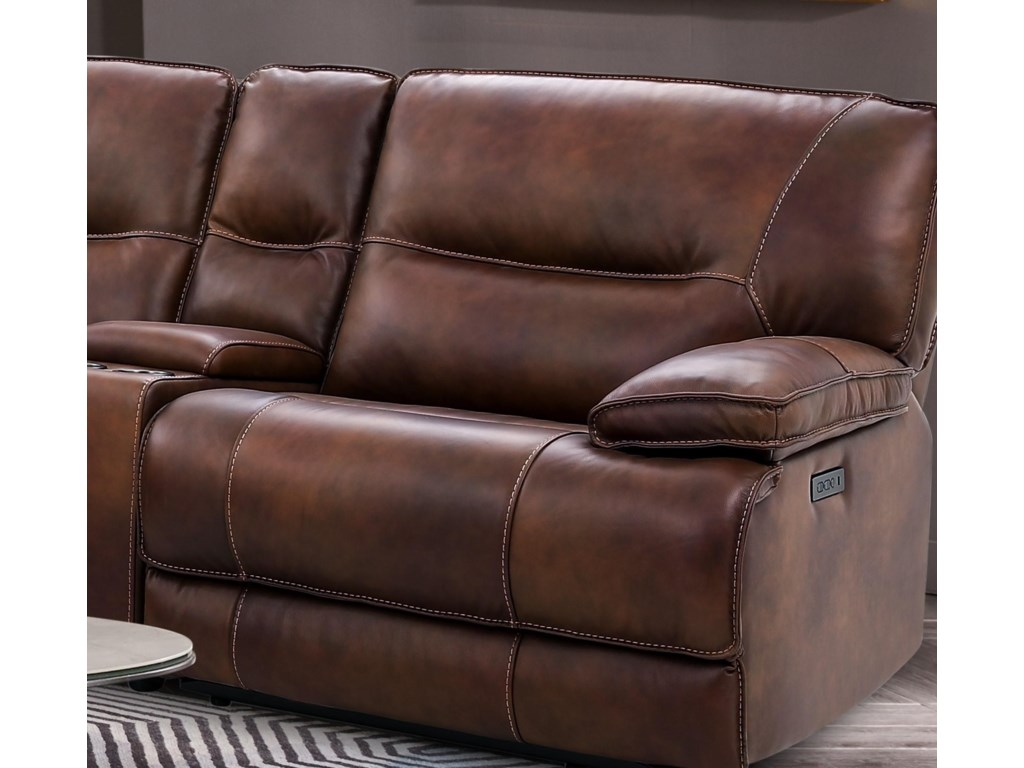 Cheers Braydon 7 Piece Leather Power Reclining Sectional