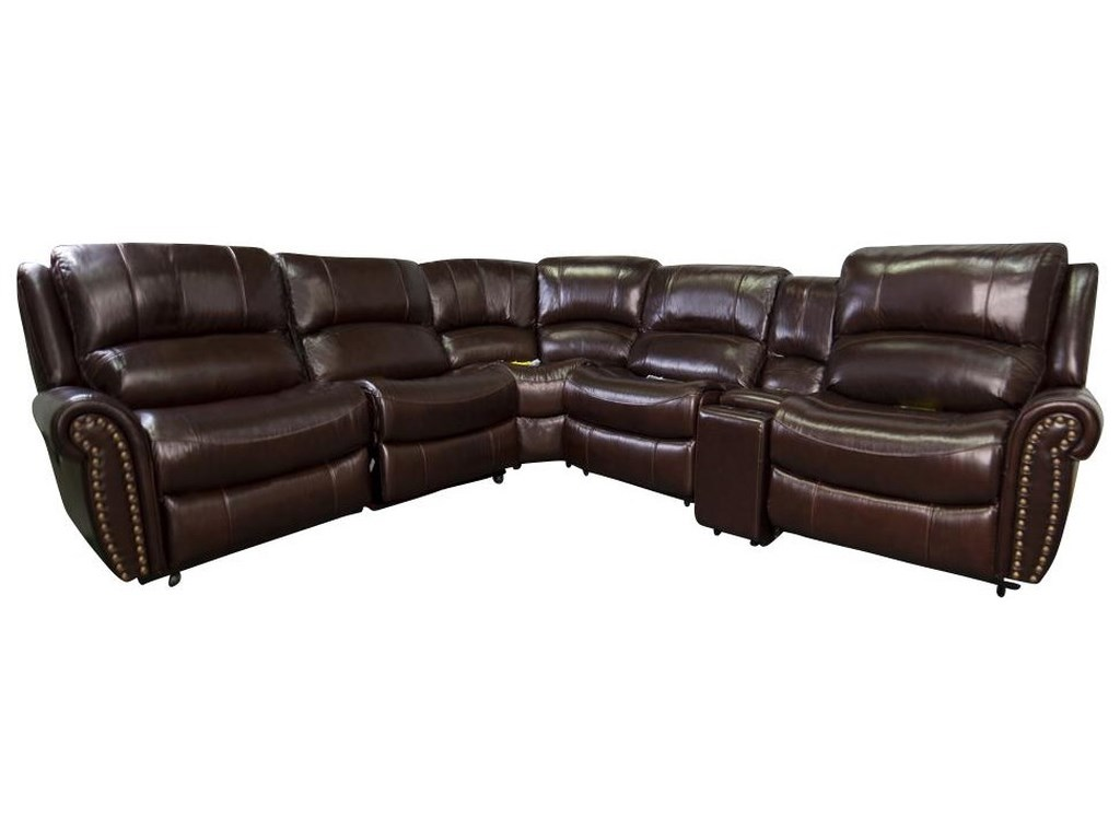Fleming Leather Match Power Reclining Sectional Sofa with Power Head Rests  by Morris Home at Morris Home