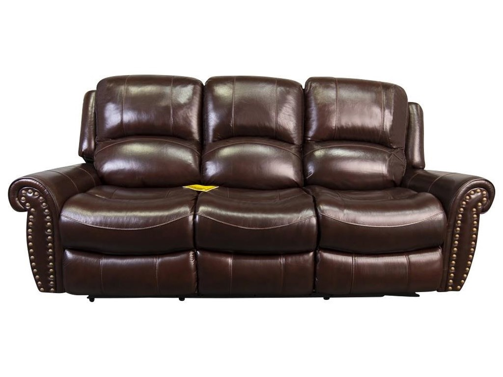 Fleming Traditional Leather Match Power Reclining Sofa with Nailhead Trim  by Cheers at Morris Home