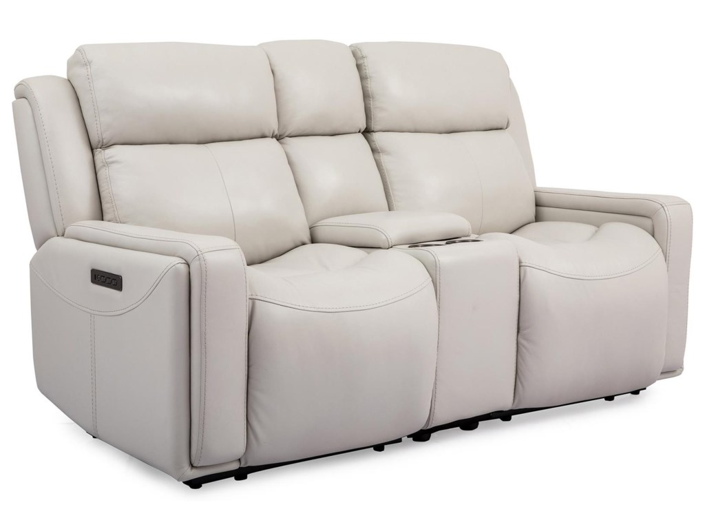 Cheers Milan LeatherLeather Power Reclining Console Loveseat
