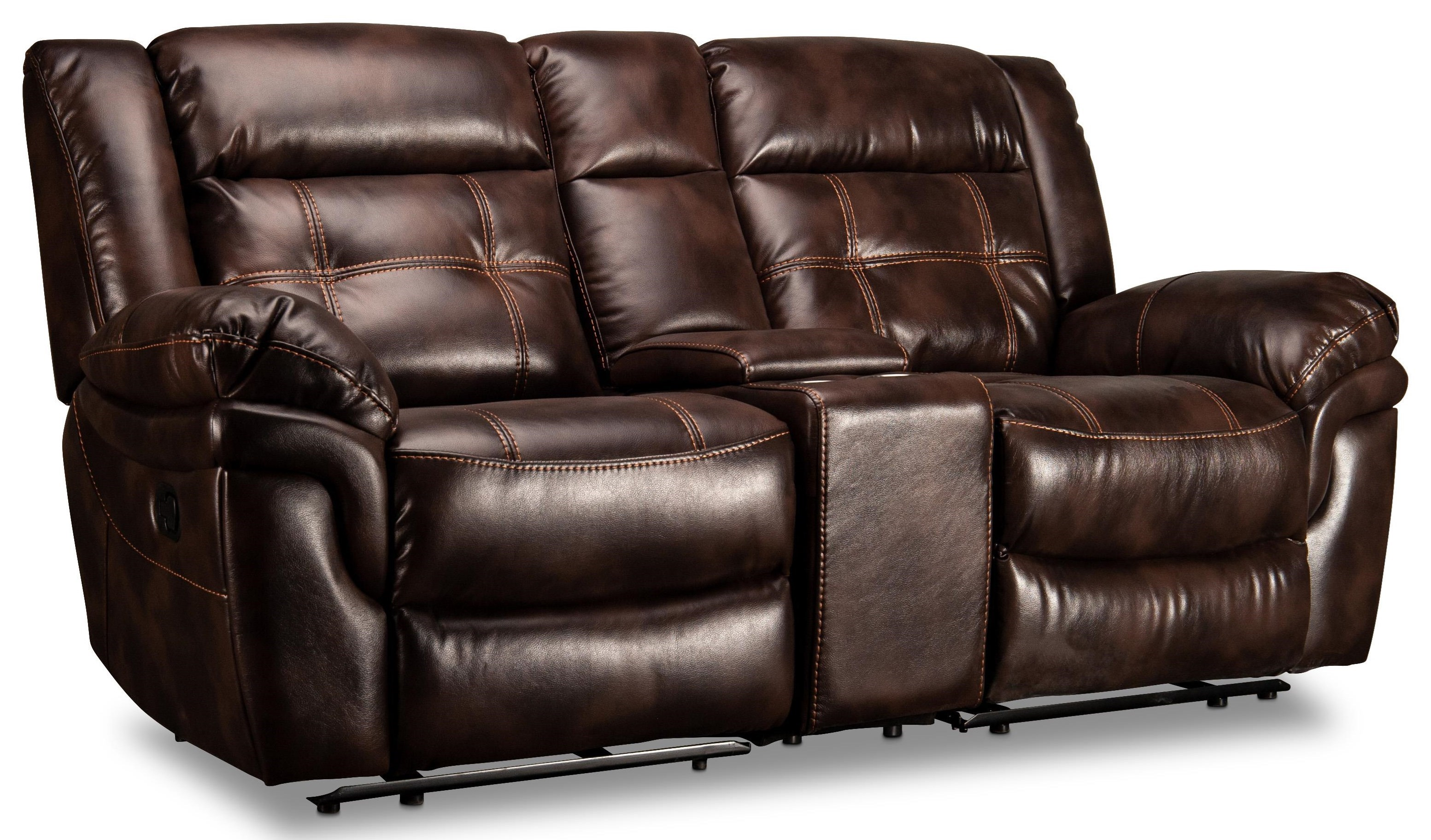 Reclining Loveseat with Power USB Console and Baseball Stitching