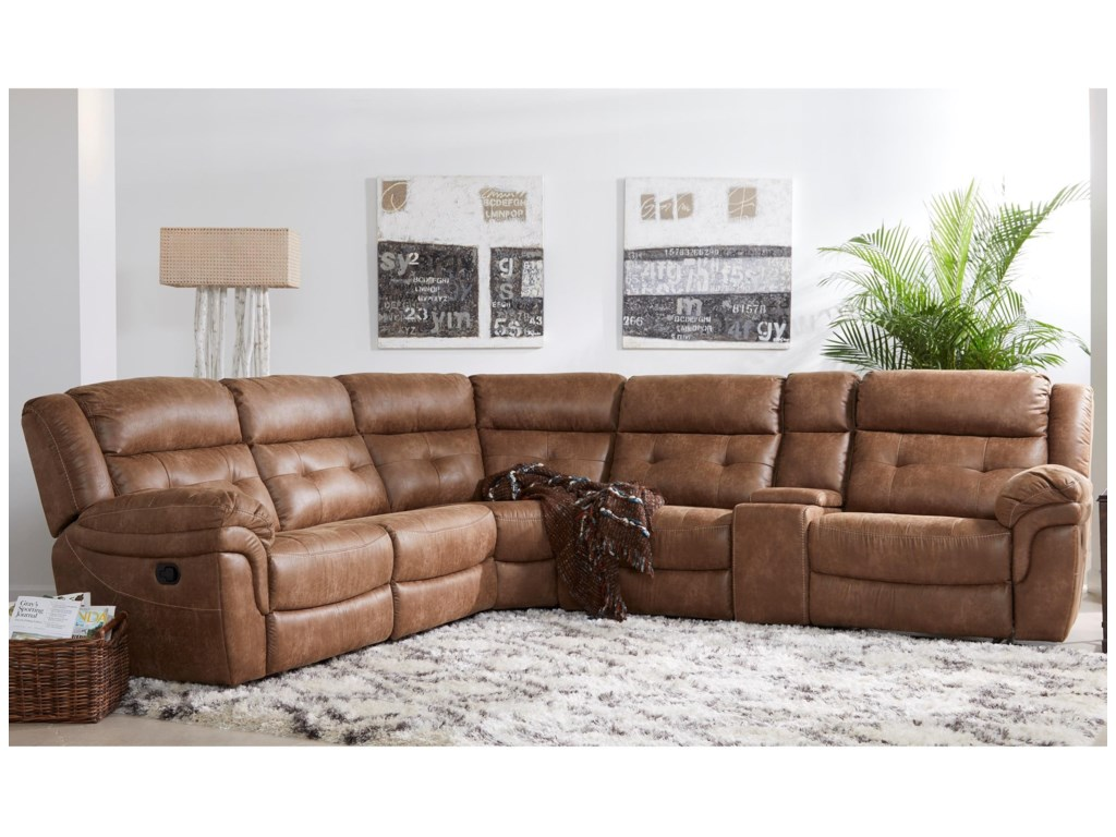 XW5156M Reclining Sectional Sofa with Storage Console by Cheers at Dunk &  Bright Furniture