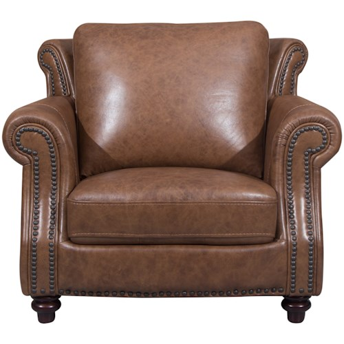Cheers Sofa 2115 Traditional Chair with Rolled Arms and Nailhead Trim