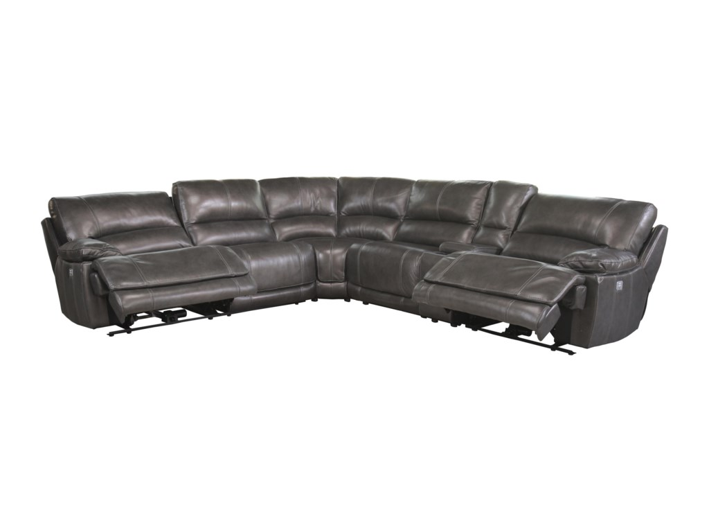 Cheers Ridgemont LeatherPower Reclining Sectional with Console
