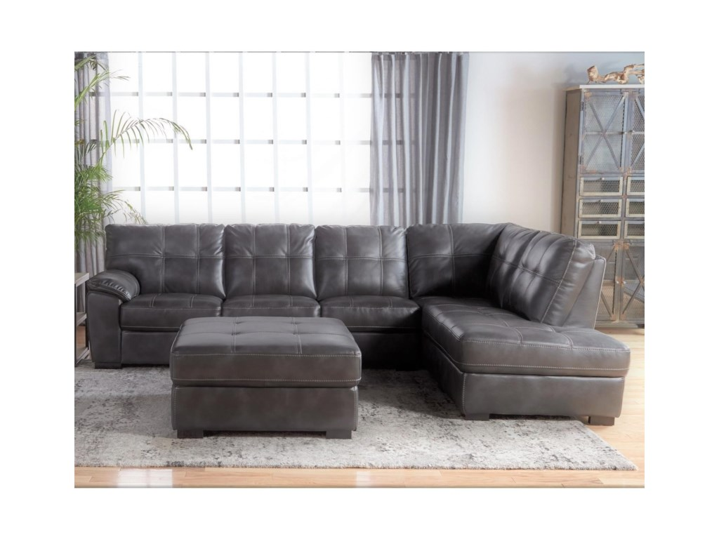 Cheers Sofa 5312Tufted Sectional with Bumper Chaise