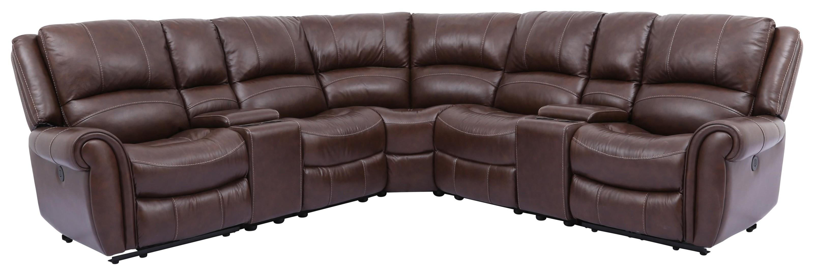 Rowan Leather 7 Piece Power Reclining Sectional