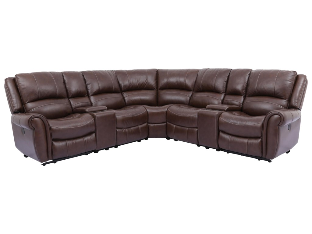 Rowan Leather 7 Piece Power Reclining Sectional by Cheers at Royal Furniture