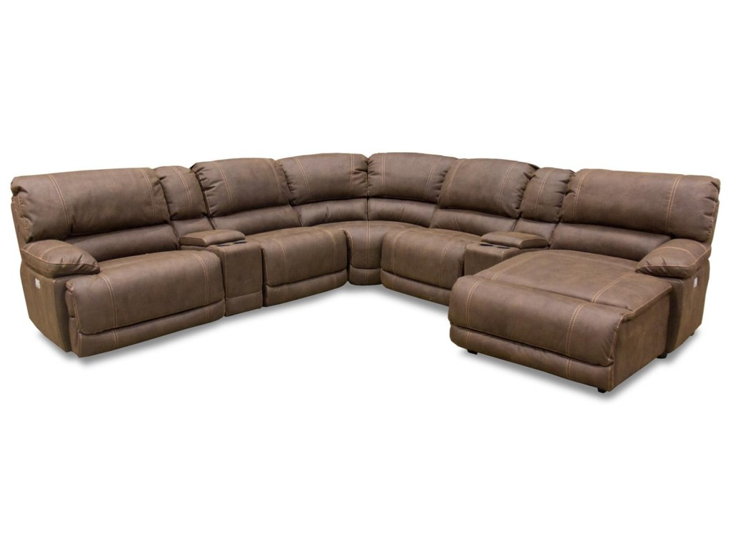 Logan 7 Piece Reclining Sectional with Power Head & Foot Rests by Cheers Sofa at Great American Home Store