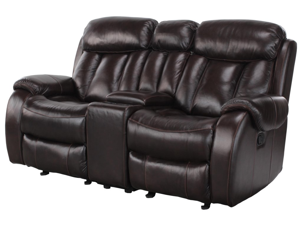 Cheers Pearce LeatherReclining Loveseat with Console