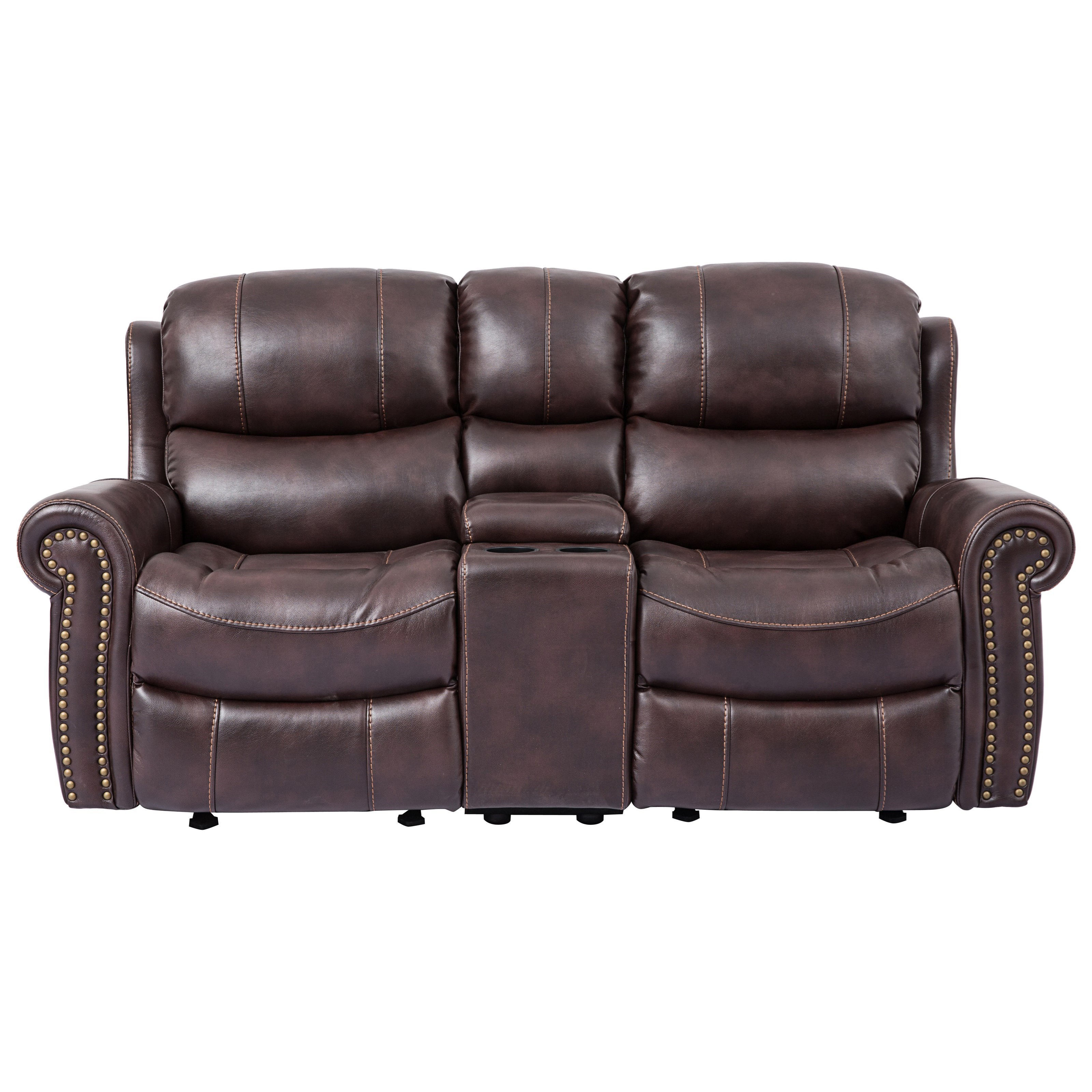 Picture of: Cheers Piedmont Leather Reclining Loveseat With Rolled Arms And Console Royal Furniture Reclining Love Seats