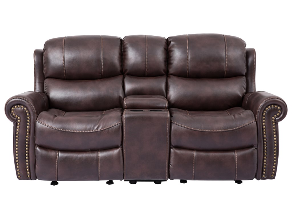 Cheers Piedmont LeatherReclining Loveseat with Console