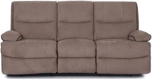 Warehouse M 9795 Microsuede Reclining Sofa with Contrast Chocolate Welt