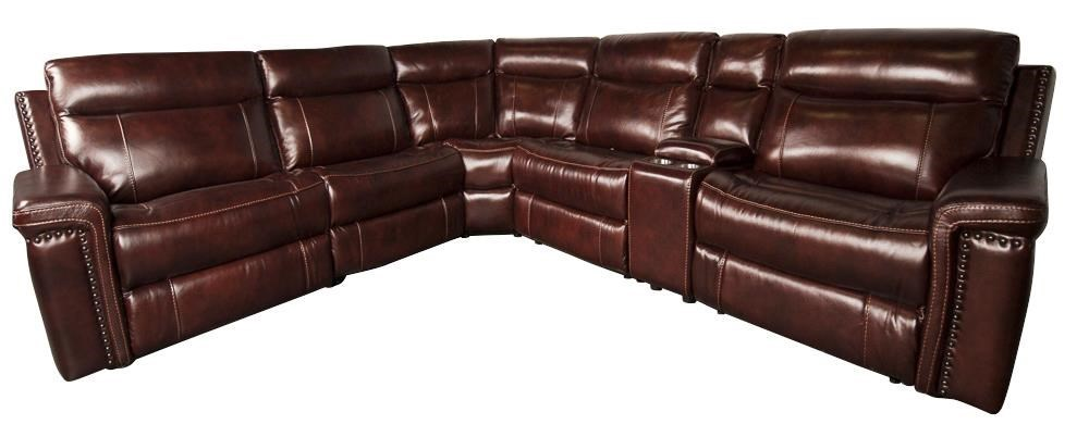 Baxter Leather Match Power Sectional Sofa With Nailhead Trim
