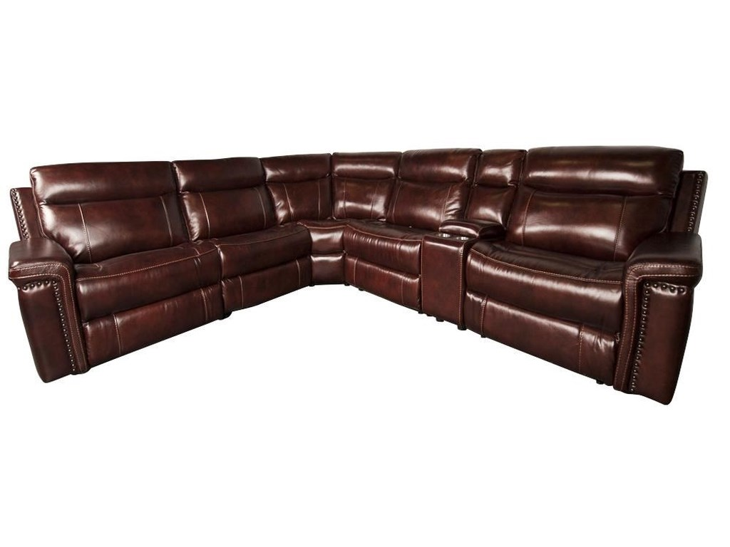Baxter Leather Match Sectional Sofa With Nailhead Trim By Cheers At Morris Home