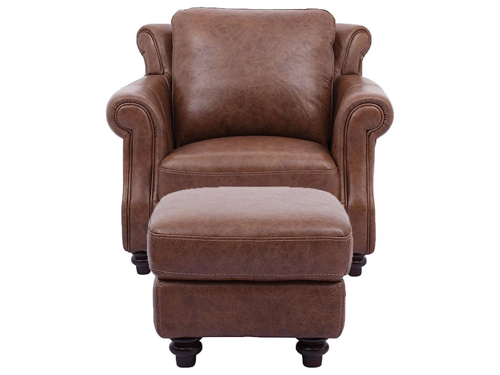Cheers Sofa Cindy100% Leather Chair & Ottoman