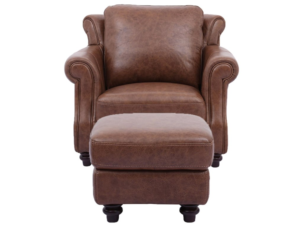 Cheers Sofa C2115100% Leather Chair & Ottoman