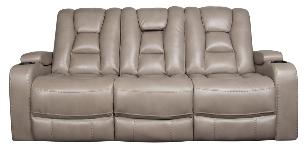 Rhinehart Modern Power Sofa With Power Headrest And Cupholders