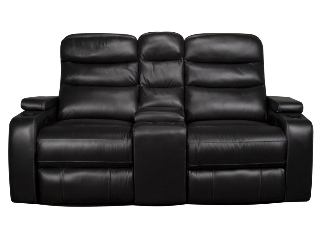 Robert contemporary leather match dual power reclining loveseat