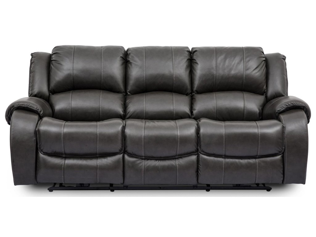 Grey Leather Reclining Sofa 3 Seater Grey Leather