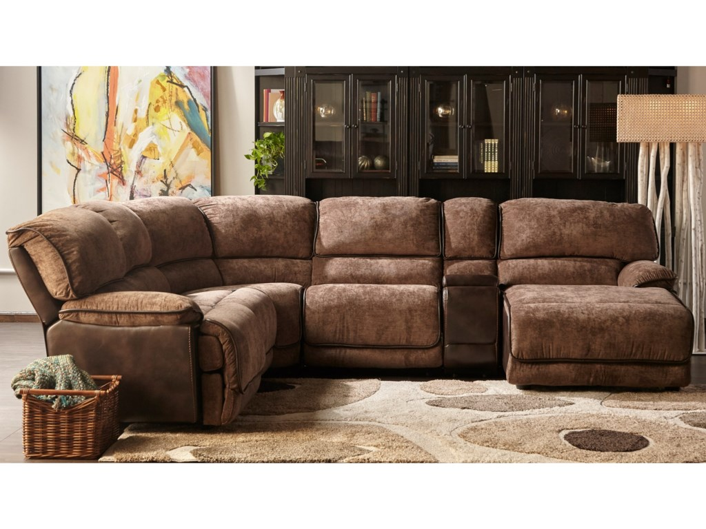 X8706M Power Reclining Sectional with RAF Chaise by Cheers at Household  Furniture